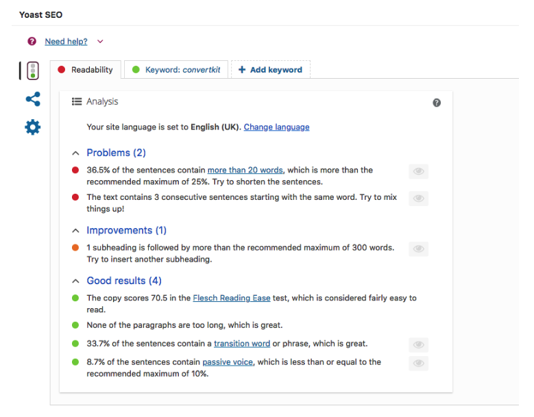 Yoast SEO plugin screenshot Adored Designs