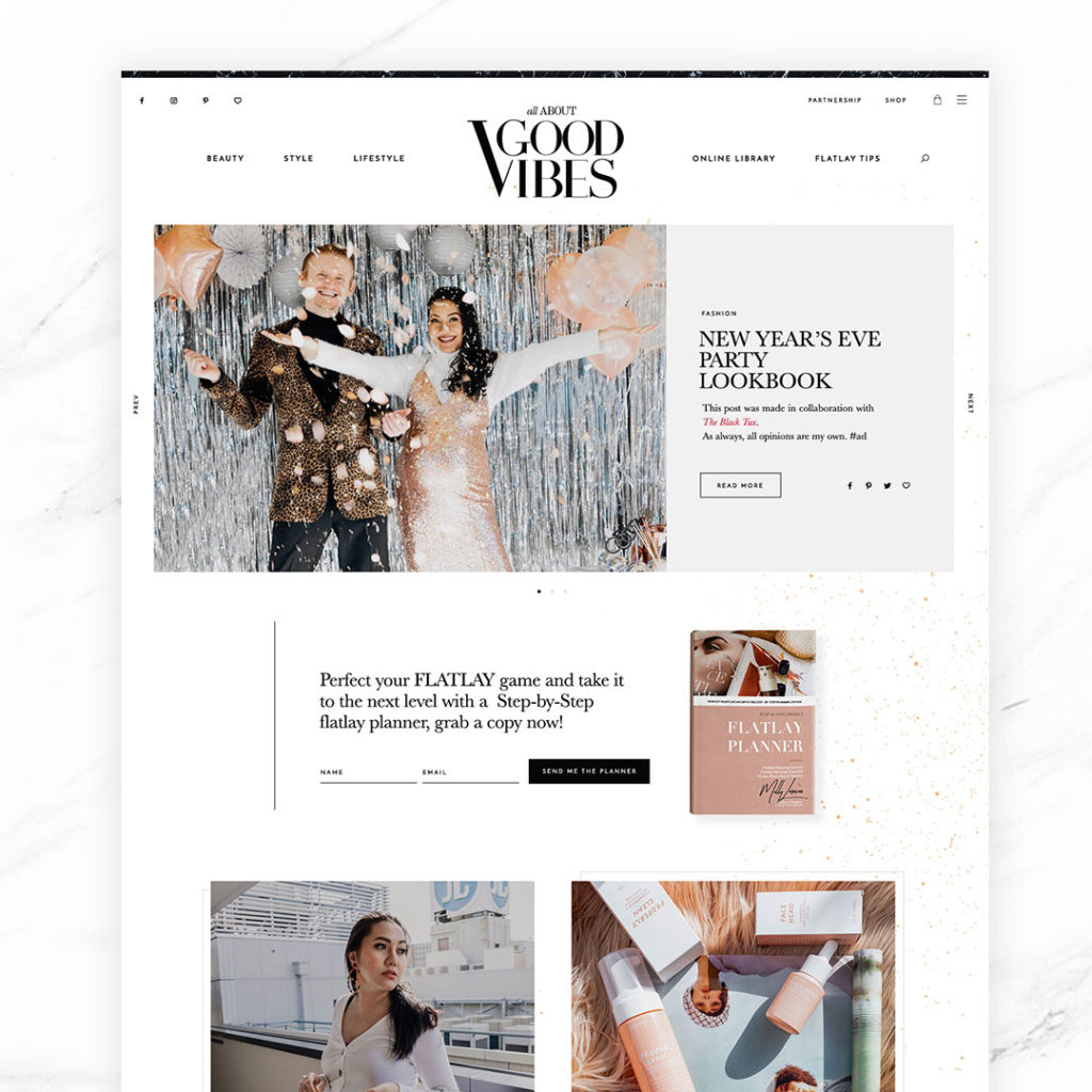 Just launched – All About Good Vibes: brand + blog design